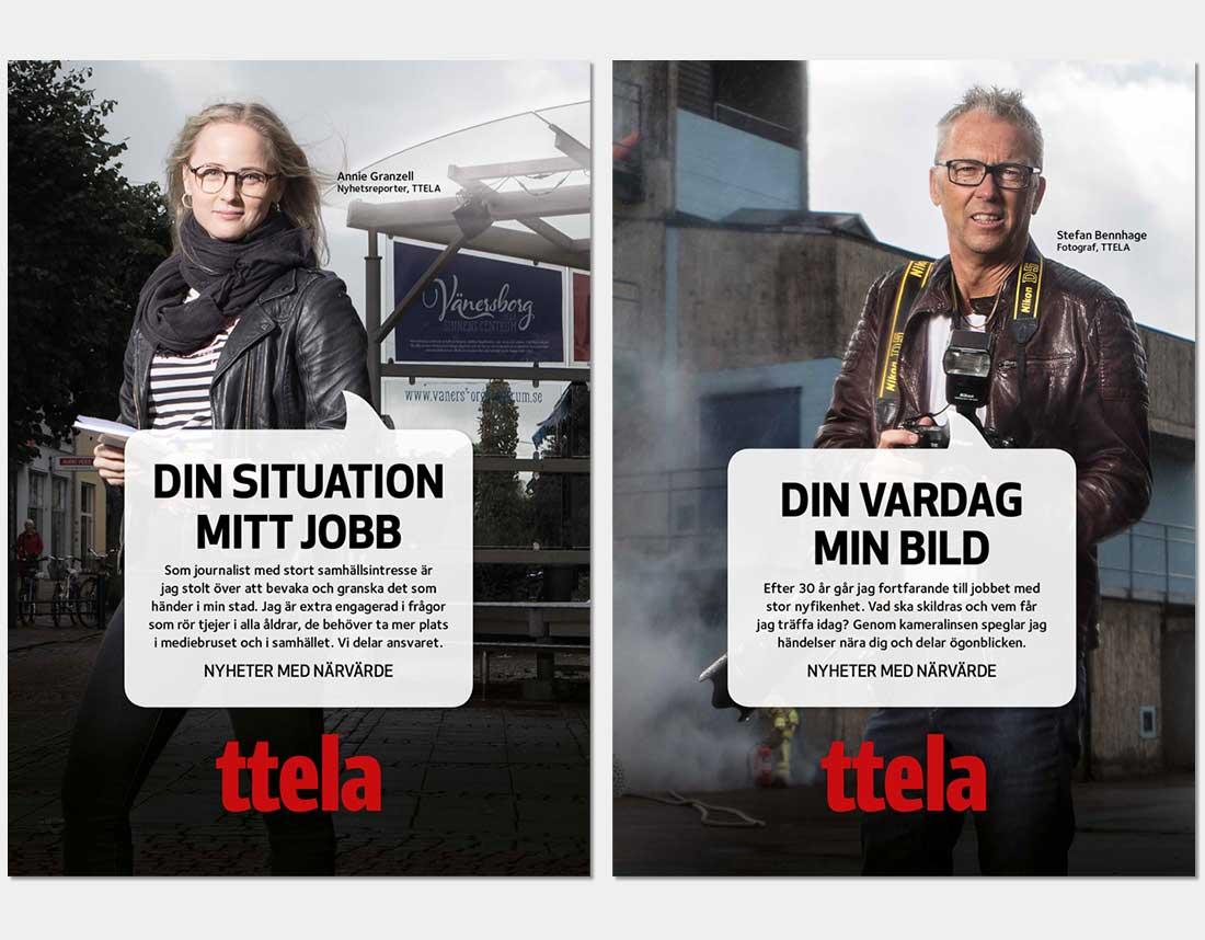 Utomhusreklam med journalister för varumärkeskampanj, TTELA