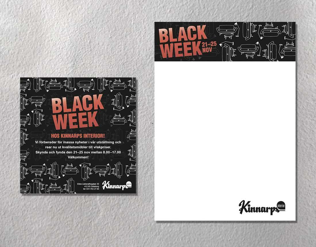 Kinnarps - Inbjudan och skylt Blackweek