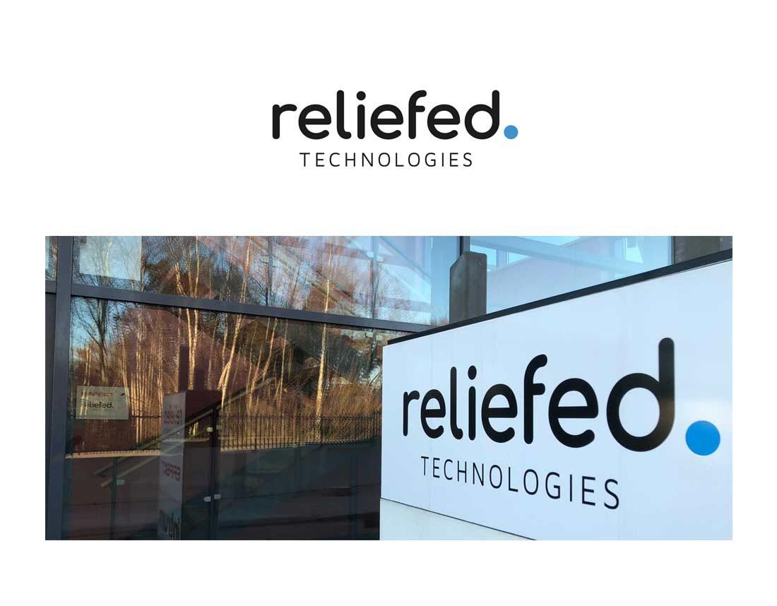 Reliefed - logo och skylt
