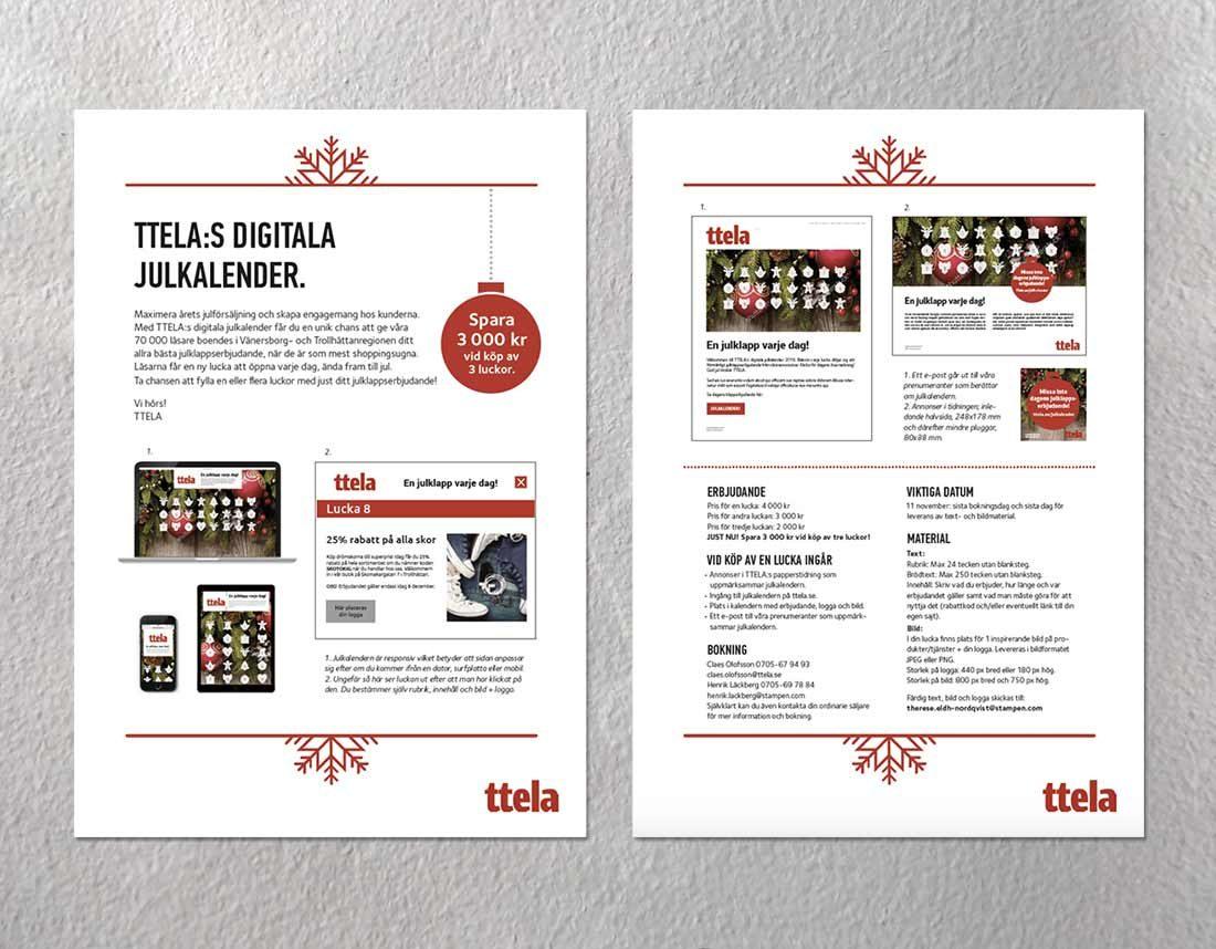Säljbrev för julkalender hos TTELA